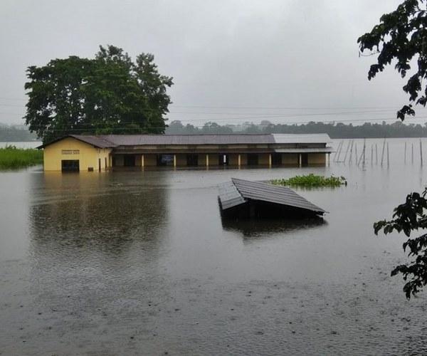 Het Nationaal park Kaziranga is overstroomd.