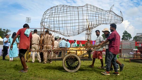 India burns rhino horn stockpile to send strong anti-poaching message